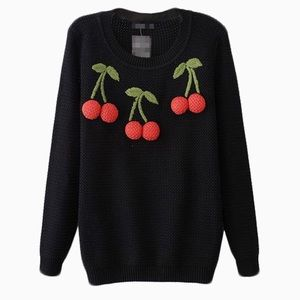 Knit Sweater With 3D Stereo Cherry Print - Pin-Up