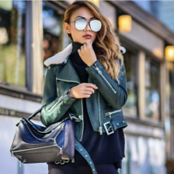 Zara Jackets & Blazers - Green faux leather Zara jacket