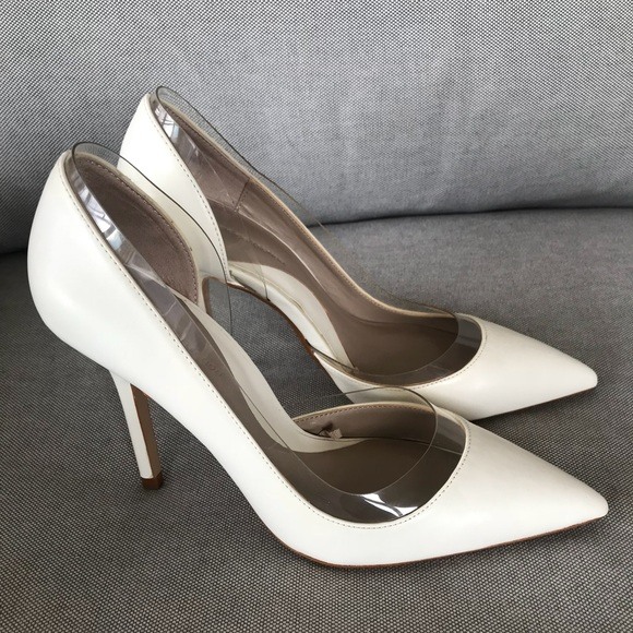 a36e83f118e Zara White Leather Clear Vinyl Pointy Heel. M 59dd5ba4bf6df534b20055e9