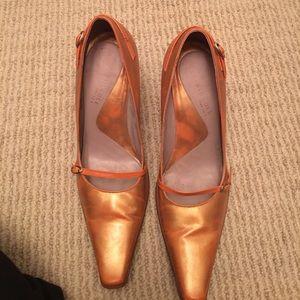 "Orange multi with wood heel 4"""