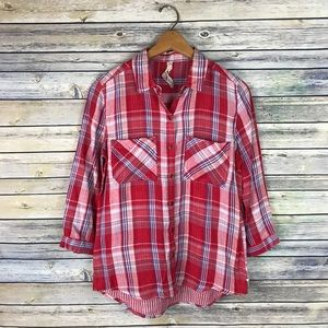 Seven7 Red & Blue Plaid Button Up Blouse