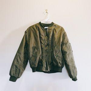 Jackets & Blazers - Military Green Puff Bomber Flight Jacket