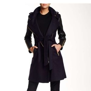 Mackage Dale Wool Leather Sleeve Coat Size L NWT
