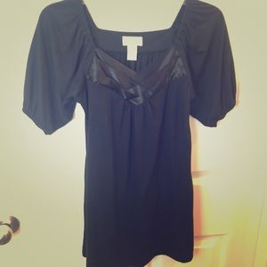 Black knit shirt sleeve top