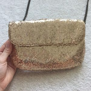 J Crew Gold Glitter Crossbody