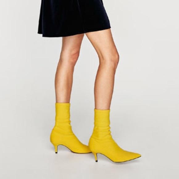 💛ISO💛 ZARA Kitten Heel Yellow Sock Booties