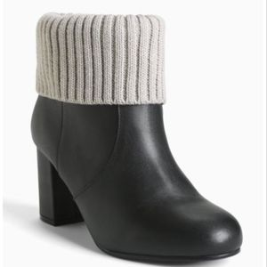 TORRID Genuine Black Leather Knit Top Booties NIB