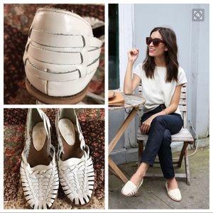 Vintage 80's White Woven Leather Huarache Sandal