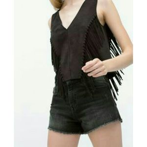 Zara Fringe Seudette Vneck Vest Top Black