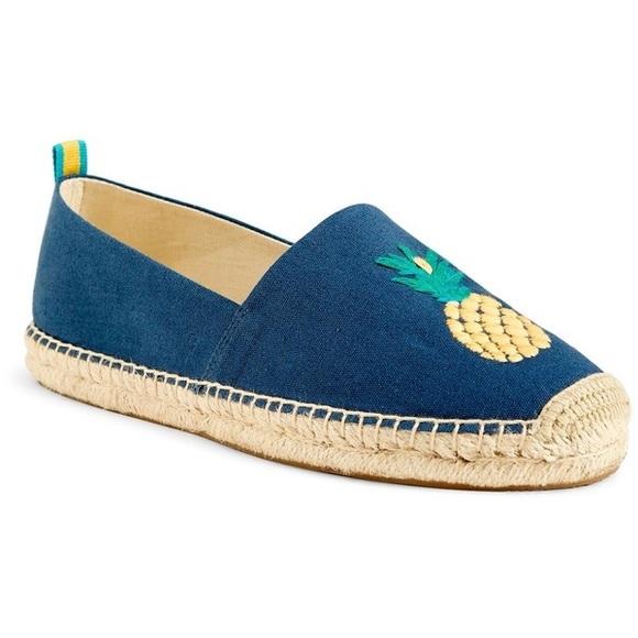 Blue Embroidered Flat Espadrilles