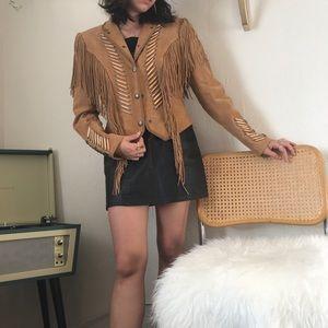 F L A S H 🔪 Vintage Leather Fringe Jacket