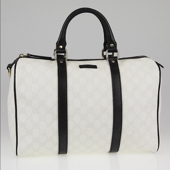 cf6325d315445f Gucci Handbags - GUCCI black/white Coated Canvas Med Joy Boston Bag