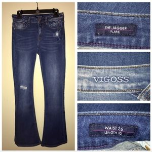 Vigor Factory Distress Torn Jaggar Flare Jeans 26