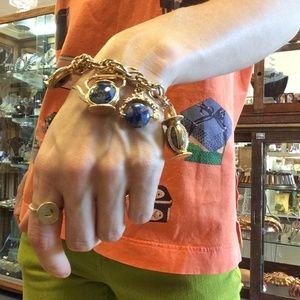 🌈Indigo Blue Stone Charm Bracelet Teapot Garden
