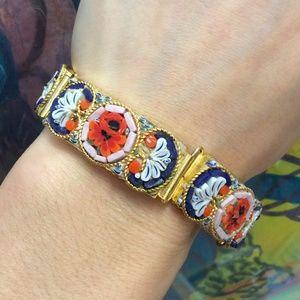 Vintage Italian Mosaic Golden Bracelet
