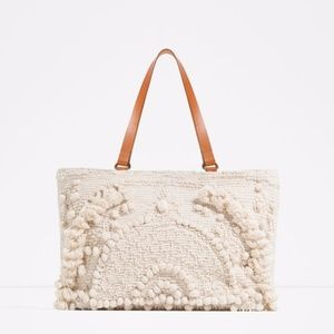 Zara Embroidered Fabric Tote
