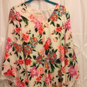 Sugar Lips Size L floral print v neck dress