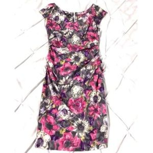 Suzi Chin Ruched Floral Cap Sleeve Sheath Dress 6