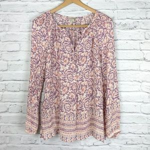 Lucky Brand floral scroll boho top Small