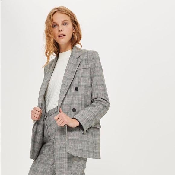 16b12fdf4 Topshop Jackets & Coats | Checked Double Breasted Blazer | Poshmark