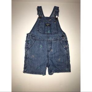 Oshkosh Baby Boy Denim Short Overalls Size 24M