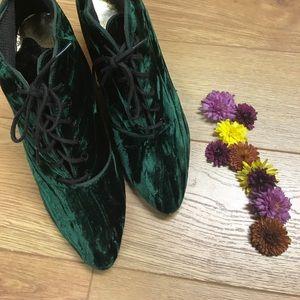 Velvet Green Vintage Lace Up Heels