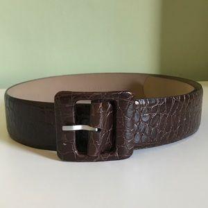 💕Ann Taylor Dark Brown Wide Croco Belt