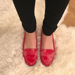 Red Ellen Tracy Penny Loafers -- Worn Once