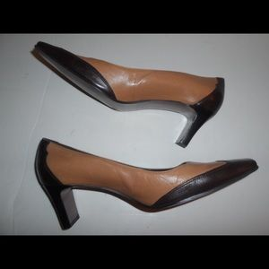Etienne Aigner Brown and Tan Leather Shoes.