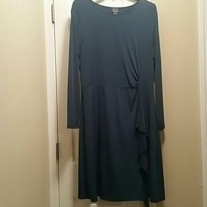 Covington Matte Jersey Teal Long-sleeved Dress