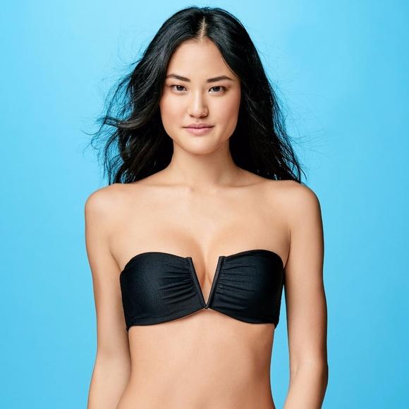 7b2a8f5f50df5 Aeropostale Black Ribbed V Bandeau Bikini Top