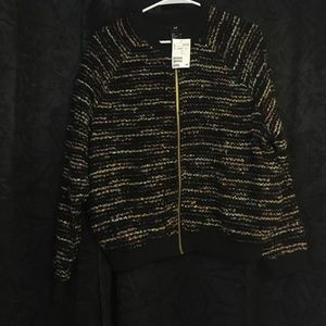 H&M sweater glitter gold zipper brand new