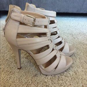 Nine West Beige platform cage sandals heels 5