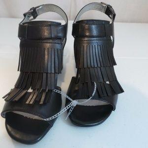 White Mountain Fringe Leather Black High Heels