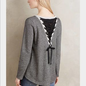 Anthropologie's Everleigh Gray Lace Up Pullover LG