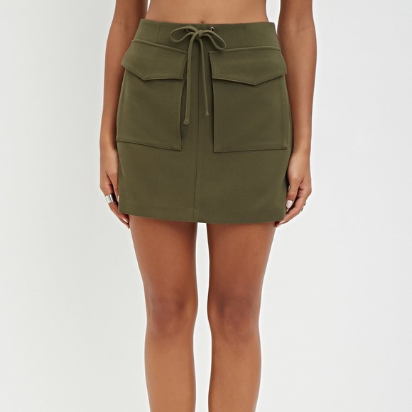 b61774fab4 Forever 21 Skirts | Army Green Pocket And Tie Skirt | Poshmark