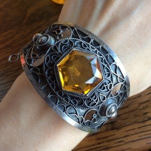 LAST CHANCE Vintage Citrine Silver Cuff Bracelet