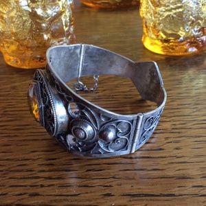 Vintage Jewelry - Vintage Citrine Silver Cuff Bracelet