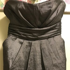 Strapless Charcoal Dress with Pockets