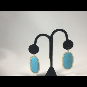 Kenneth jay lane turq and gold earrings