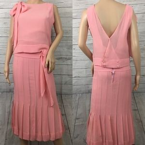 Chloe silk pleated bow tie french dress blush pink