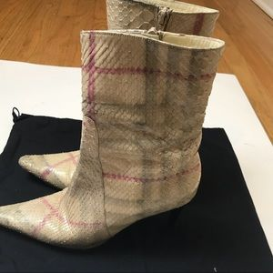 Burberry Plaid snakeskin boots size 37