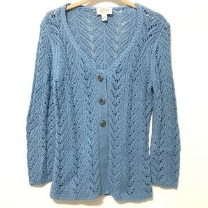 Talbots Sweater Cardigan S Petite Blue Crochet