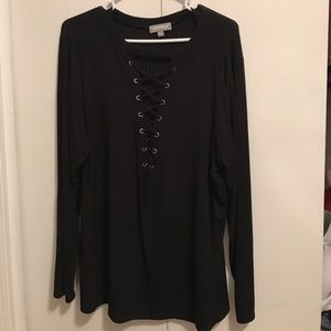 Long sleeve lace up shirt