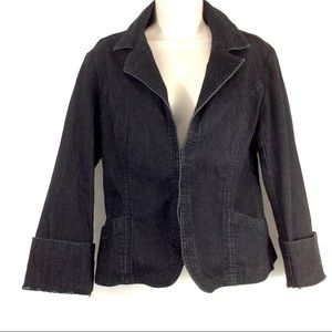 Nicole Miller Black Denim Stretchy Blazer