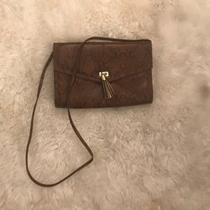 Brown Snake Skin Cross Body / Clutch w/Tassel