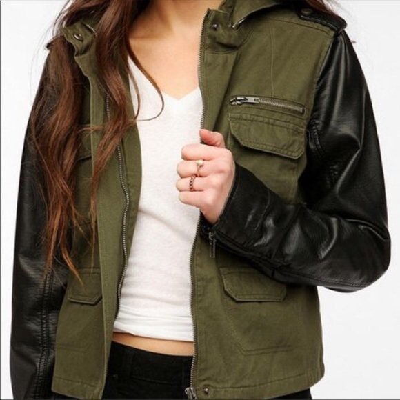 7ea424cd30518 Urban Outfitters Jackets & Coats | Army Green Leather Jacket | Poshmark