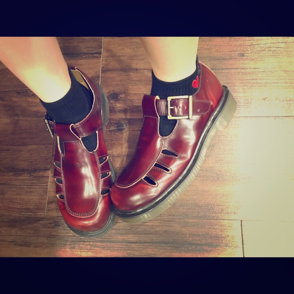 Dr Martens Mary Jane Shoes Cherry Red