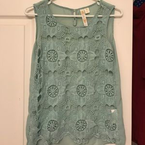 LACE TEAL TOP