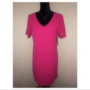 Sangria Fuschia Pink V Neck S/S Sheath Dress